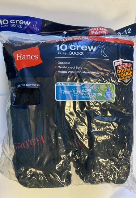Hanes  Men's Crew Sock  /10PK  men Hanes-C/O
