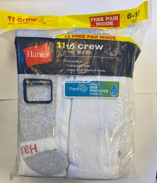 Hanes Men's  Crew Sock  10+1 /11PK  men Hanes-C/O
