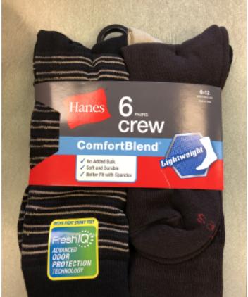 Hanes Men Comfort Blend Crew Sock C/O /6PK men Hanes-C/O