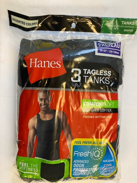 Hanes Men's Dyed Tank Blk/Gry C/O /3PK men Hanes-C/O
