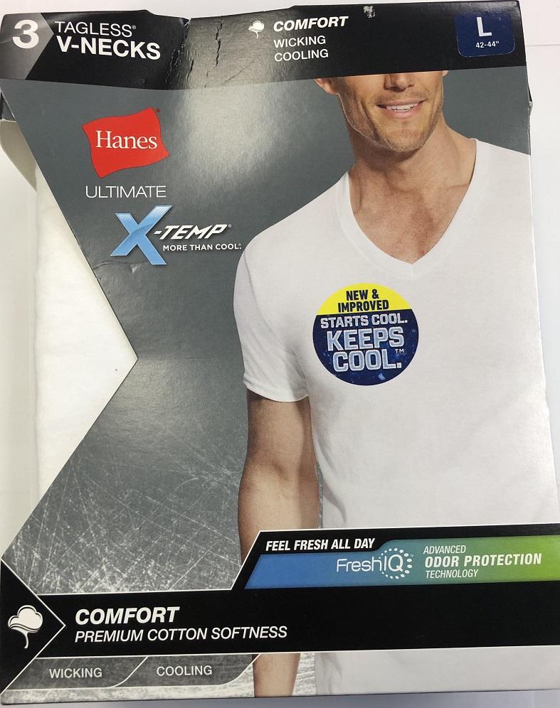 Hanes Mens Ultimate White V-Neck C/O /3PK men Hanes-C/O