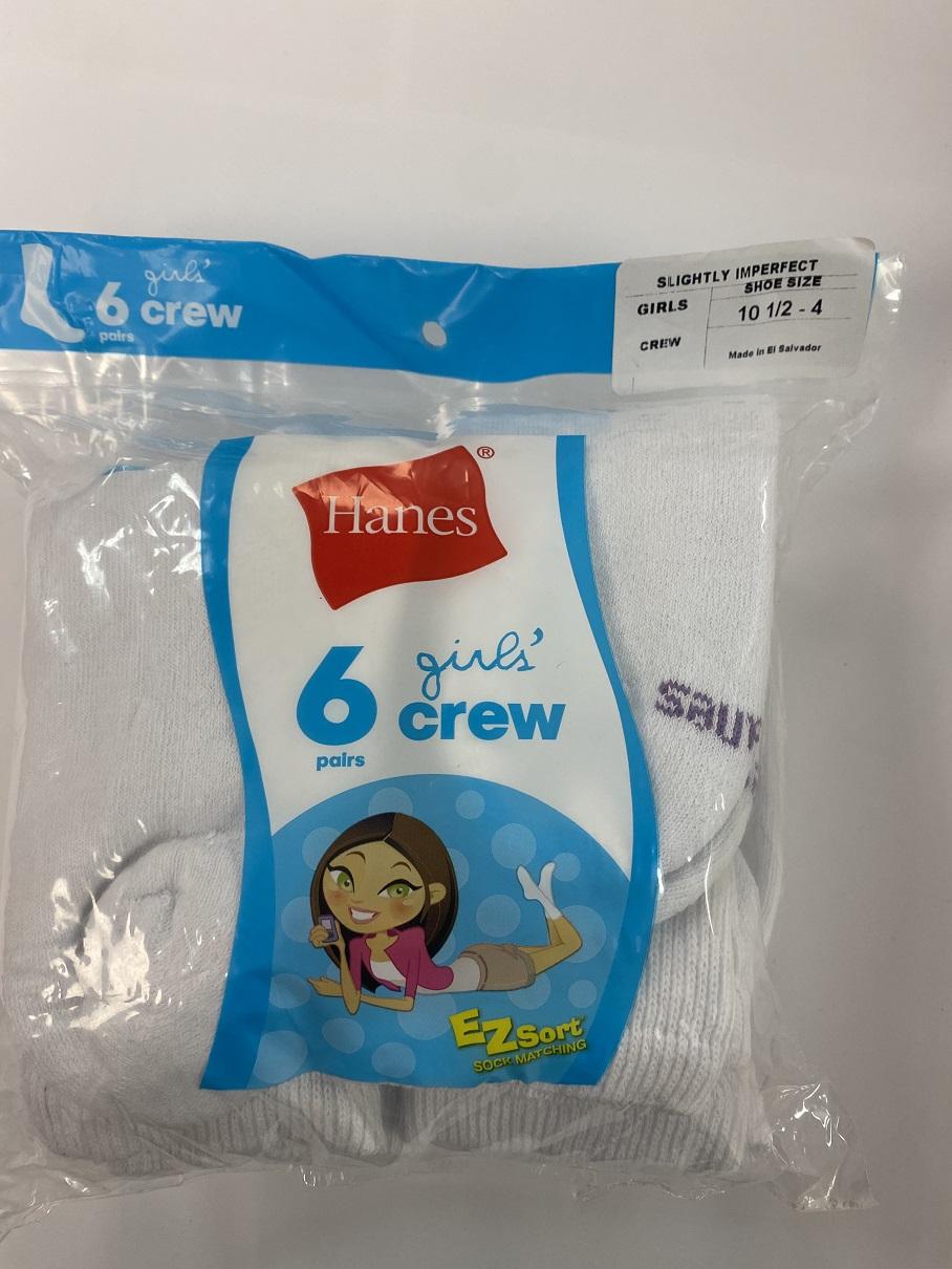 Hanes Girls Crew Socks IR /6PK youth Hanes-IR