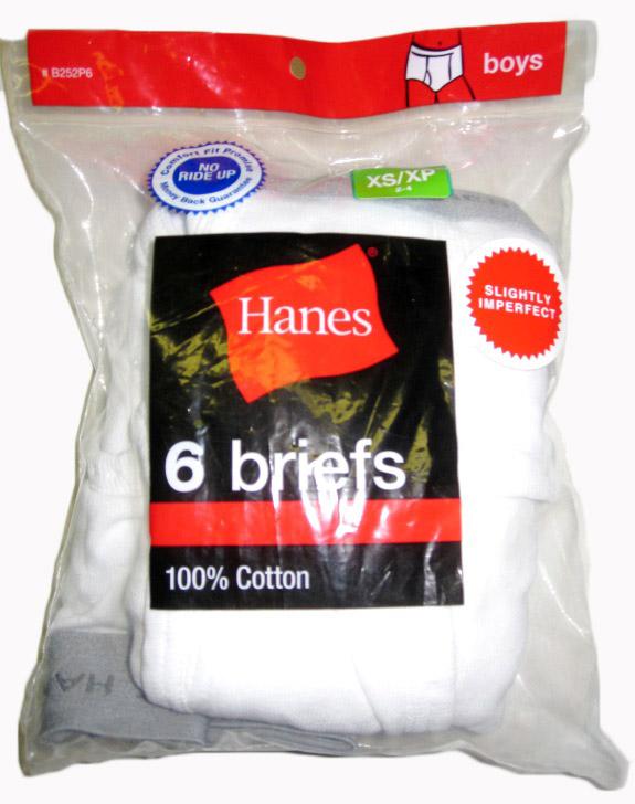 Hanes Boys White Brief IR /6PK youth Hanes-IR
